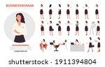 businesswoman character poses... | Shutterstock .eps vector #1911394804