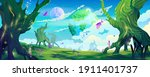 alien planet landscape ... | Shutterstock .eps vector #1911401737