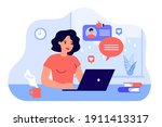 happy woman chatting or dating... | Shutterstock .eps vector #1911413317