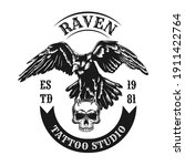raven emblem design. monochrome ... | Shutterstock .eps vector #1911422764