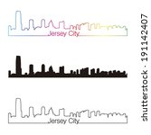 jersey city skyline linear... | Shutterstock .eps vector #191142407