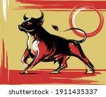ox bull or cow paint brush... | Shutterstock .eps vector #1911435337