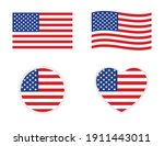 usa american flag icon wave... | Shutterstock .eps vector #1911443011
