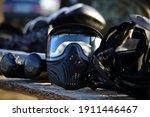 Black plastic paintball helmets ...