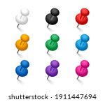colored pins set. push pins... | Shutterstock .eps vector #1911447694
