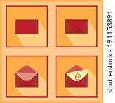 mail icons set with long... | Shutterstock .eps vector #191153891