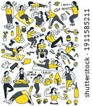 doodle character set of woman... | Shutterstock .eps vector #1911585211