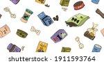 vector seamless illustration... | Shutterstock .eps vector #1911593764