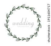circle leaves flower handrawn... | Shutterstock .eps vector #1911604717