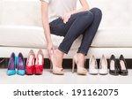hard choice. woman deciding... | Shutterstock . vector #191162075