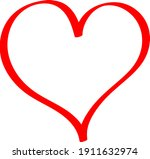 red heart   doodle style... | Shutterstock .eps vector #1911632974
