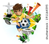 SOCCER BRAZIL with background of Brazilian Icons and Landmarks