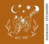 wild spitit. line art fox  moon ... | Shutterstock .eps vector #1911664684