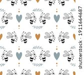 seamless pattern with bee... | Shutterstock .eps vector #1911664687