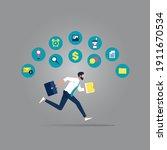 businessman running rush in a...   Shutterstock .eps vector #1911670534