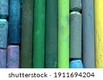 Used Colorful Pastel Chalks In...
