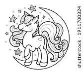 cartoon unicorn on the moon....   Shutterstock .eps vector #1911700324