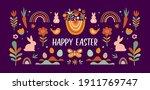 boho easter concept design ... | Shutterstock .eps vector #1911769747