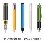 set of realistic pens and...   Shutterstock .eps vector #1911775864
