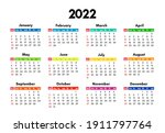 calendar for 2022 isolated on a ... | Shutterstock .eps vector #1911797764