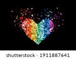 heart glitter rainbow colors... | Shutterstock .eps vector #1911887641