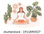 smiling girl practicing yoga...   Shutterstock .eps vector #1911890527
