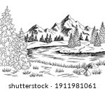 mountain river graphic black... | Shutterstock .eps vector #1911981061