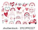 set clipart elements valentine... | Shutterstock .eps vector #1911992227