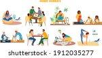 vector set of home hobbies...   Shutterstock .eps vector #1912035277