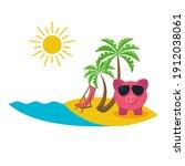 money for vacation. piggy bank... | Shutterstock .eps vector #1912038061
