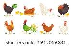 cartoon domestic chicken. funny ... | Shutterstock .eps vector #1912056331