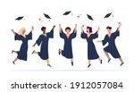 tossing caps. happy college...   Shutterstock .eps vector #1912057084