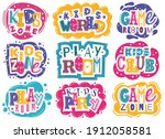 kids zone emblems. colorful... | Shutterstock .eps vector #1912058581