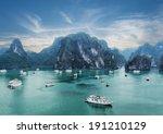 tourist junks floating among... | Shutterstock . vector #191210129