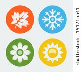 vector four seasons icons set | Shutterstock .eps vector #191215541