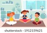 kids meditation. children yoga  ...   Shutterstock .eps vector #1912159621