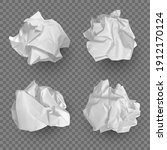 crumpled paper balls. realistic ... | Shutterstock .eps vector #1912170124