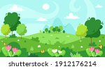 spring landscape with trees ...   Shutterstock .eps vector #1912176214