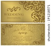 set of wedding invitations.... | Shutterstock .eps vector #191218571