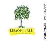 lemon tree mediterranean... | Shutterstock .eps vector #1912187944