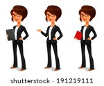 cute cartoon businesswoman in... | Shutterstock .eps vector #191219111