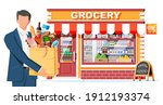 grocery store and man customer. ...   Shutterstock .eps vector #1912193374