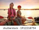Happy Children Sitting On Kayak ...