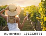 Young Woman With Glass Of Wine...