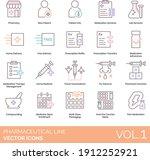 pharmaceutical line icons... | Shutterstock .eps vector #1912252921