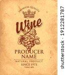 vector wine label with hand...   Shutterstock .eps vector #1912281787