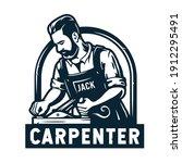 silhouette of bearded carpenter.... | Shutterstock .eps vector #1912295491