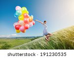 happy woman with balloons... | Shutterstock . vector #191230535