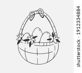 cute vector basket with easter... | Shutterstock .eps vector #1912334884