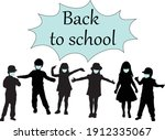 back to school. silhouette of a ... | Shutterstock .eps vector #1912335067
